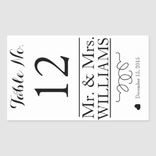 Custom Wedding Wine Bottle Label Table Number