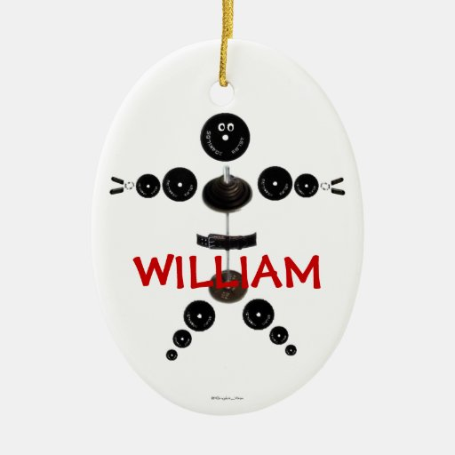 Custom Weightlifter Cartoon Double-Sided Oval Ceramic Christmas Ornament