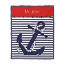 Custom Welcome Aboard Anchors Stripes Pattern Fleece Blanket