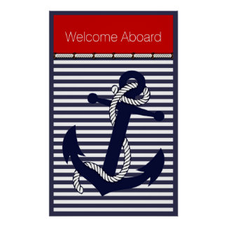 Custom Welcome Aboard Anchors Stripes Pattern Poster