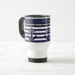 Custom Welcome Aboard Anchors Stripes Pattern Travel Mug