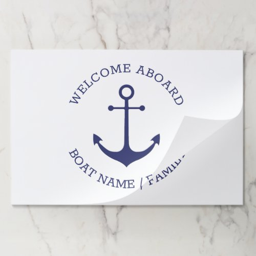 Custom Welcome Aboard nautical anchor placemats