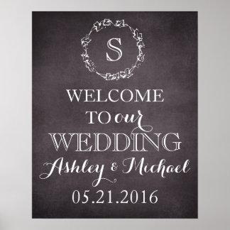 Custom Welcome bride groom name date wedding sign Poster