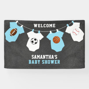 Sports theme baby shower gifts on zazzle custom welcome sports theme boy baby shower banner negle Choice Image