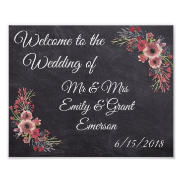 Art Themed Custom Welcome to the Wedding of Chalkboard Look Poster