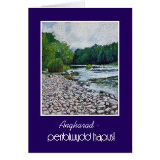Custom Welsh Greeting Birthday Card: River Usk Card