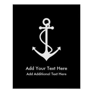 Custom White Anchor Add Your Own Text Poster