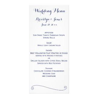 Custom White And Blue Wedding Menu Cards Rack Card Design