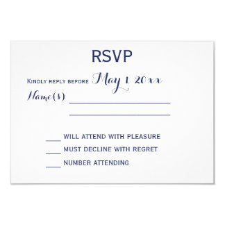 Custom White And Blue Wedding RSVP Cards