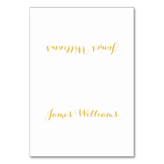 Custom White And Gold Place Setting Cards
