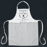 "Custom, White and Gray Stripes, Farmhouse Kitchen Apron<br><div class=""desc"">Make this beautiful white and gray stripe pattern apron your own,  with ability to customize all four text areas with your own message! Design with beautiful area for your text,  enhanced with spatula,  mixing bowls,  fork and whisk details. Unique great gift idea!</div>"