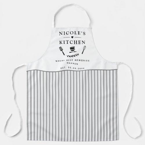 Custom, White and Gray Stripes, Farmhouse Kitchen Apron