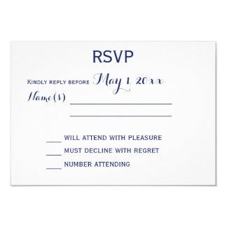 "Custom White And Navy Blue Wedding RSVP Cards 3.5"" X 5"" Invitation Card"