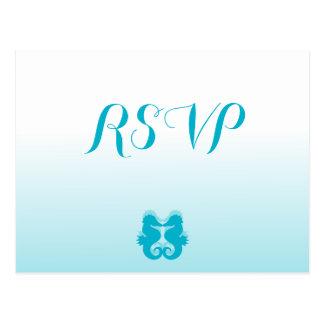 Custom White Blue Seahorse Wedding RSVP Postcards
