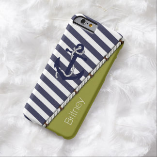 Custom White Blue Stripes Pattern Retro Anchor Barely There iPhone 6 Case