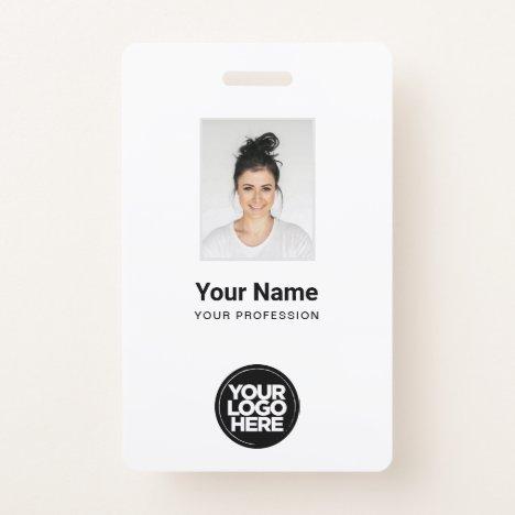 Custom White Employee Photo, Bar Code, Logo, Name Badge