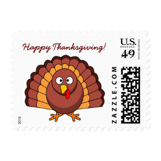 Custom White Happy Thanksgiving Stamps With Turkey