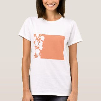 Custom White Hibiscus Design T-Shirt