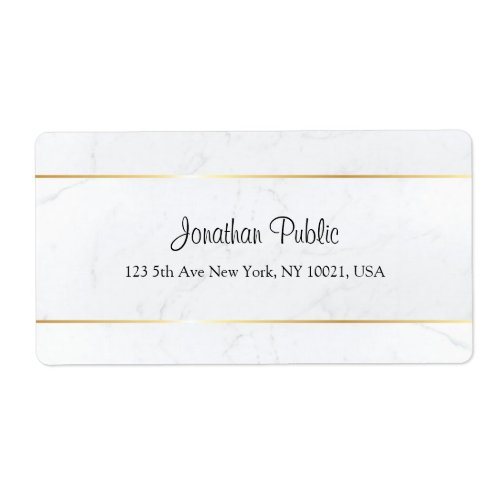 Custom White Marble Faux Gold Hand Script Template Label