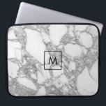"Custom white marble stone monogram laptop sleeve<br><div class=""desc"">Custom white marble stone monogram laptop sleeve. Elegant design with personalized name initial letter. Chic Birthday gift idea for friends and family. Transferable print to other products on Zazzle. Luzury computer accessories for him or her.</div>"