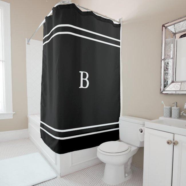 Custom White Monogram on Black and White Shower Curtain