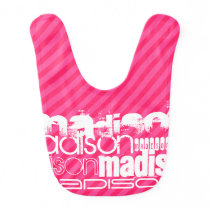 Custom White Name Pattern on Hot Pink Stripes Bib