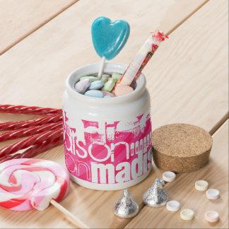 Custom White Name Pattern on Hot Pink Stripes Candy Jar