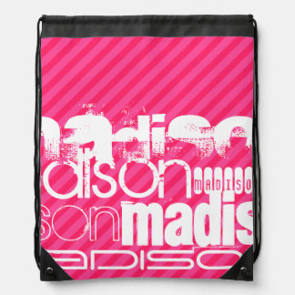Custom White Name Pattern on Hot Pink Stripes Drawstring Bag