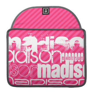 Custom White Name Pattern on Hot Pink Stripes Sleeves For MacBooks