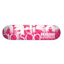 Custom White Name Pattern on Hot Pink Stripes Skateboard Deck