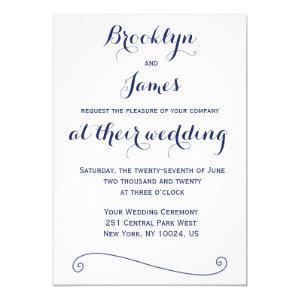 Custom White Navy Blue Wedding Invitations 5