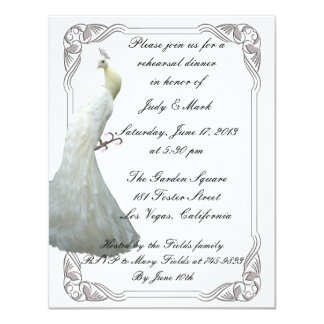 "Custom White Peacock Rehearsal Dinner Invitation 4.25"" X 5.5"" Invitation Card"