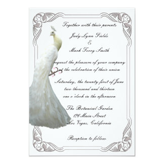 Custom White Peacock Wedding Invitation