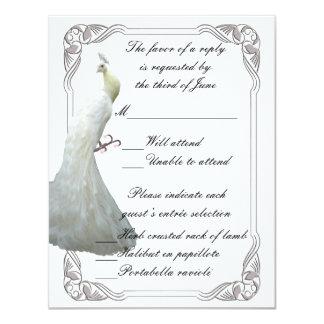 Custom White Peacock Wedding Response Card