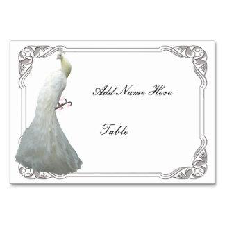 Custom White Peacock Wedding Table Place Card