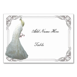 Custom White Peacock Wedding Table Place Card Table Cards