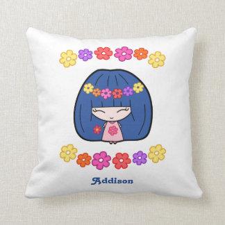 Custom White Pillow Cute Kawaii Girl With Flowers