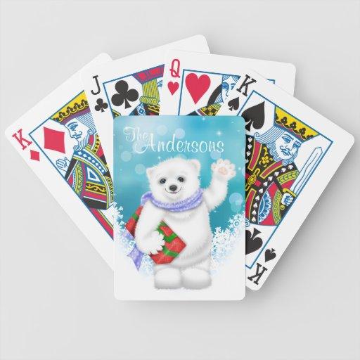 Custom White Polar Bear Christmas Playing Cards