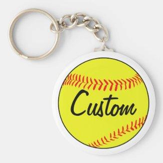 Custom White Softball Keychain