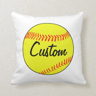 Custom White Softball Throw Pillow