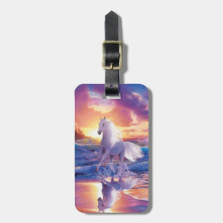 Custom White Stallion Luggage Tag