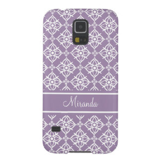 Custom White Star Damask V2 on East Side Violet Case For Galaxy S5
