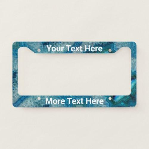 Custom White Text on Blue Druse Agate Stone License Plate Frame