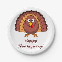 Custom White Thanksgiving Paper Plates Turkey
