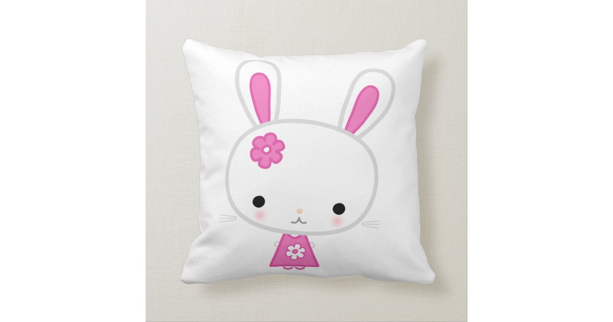 Custom White Throw Pillows With Cute Pink Bunny Zazzle