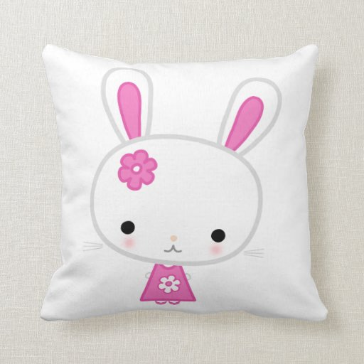 Cute Bunny Pillow : Custom White Throw Pillows With Cute Pink Bunny Zazzle