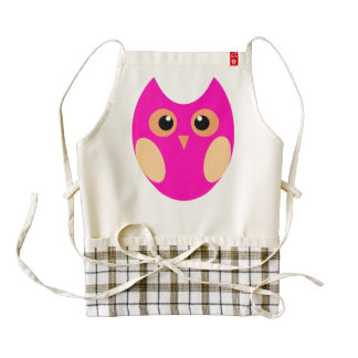 Custom White Zazzle Heart Aprons Cute Pink Owl