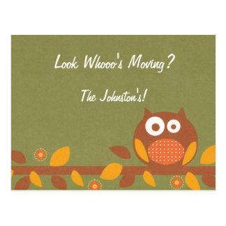 Custom Who's Moving Owl in a Tree Moving New Home Postcard