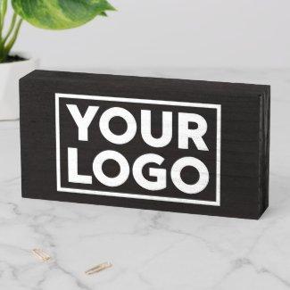 Custom Wide Business Logo Promotional Black Wooden Box Sign