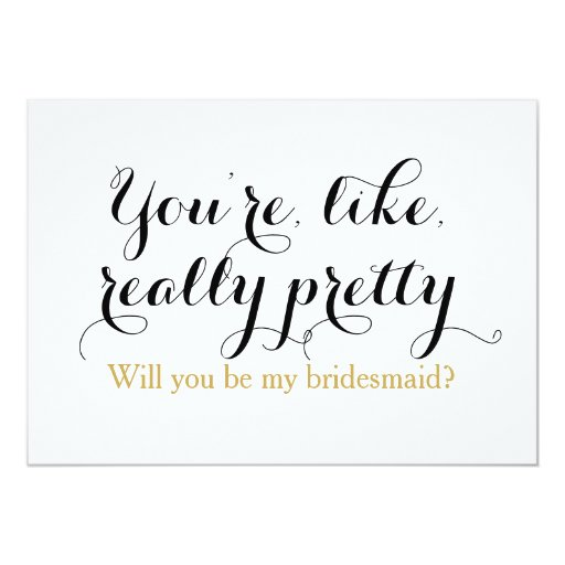 custom will you be my bridesmaid funny wedding card zazzle. Black Bedroom Furniture Sets. Home Design Ideas